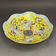 Vintage Chinese Bronze Cloisonne Bowl w Crane Peach & Qian Long Mark