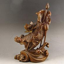 19Th C Vintage Hand-carved Chinese Natural Boxwood Hard Wood Statue - Lotus Flower