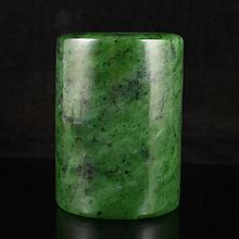 Hand Carved Chinese Natural Green Hetian Jade Brush Pot
