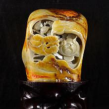 Hand Carved Chinese Natural Hetian Jade Statue - Magpies & Peony
