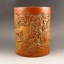 Vintage Hand-carved Chinese Bamboo Brush Pot w Playing Chess Old Man