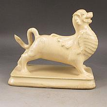 Chinese White Porcelain Statue - Fortune Beast w Mark