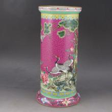 Hand-painted Chinese Gold-plating Pa Hua Famille Rose Porcelain Brush Pot w Yong Zheng Mark