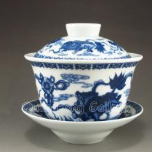 Hand-painted Chinese Blue And White Porcelain Tea Cup w Mark