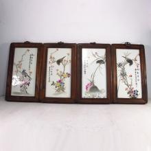 A Set Hand-painted Chinese Famille Rose Porcelain Plaque Painting w Magpie & Plum Flower