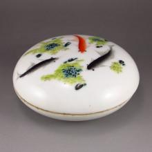 Vintage Hand-painted Chinese Three Color Porcelain Rouge Box w Marked