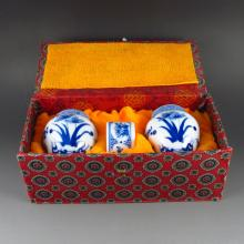 A Set Hand-painted Chinese Blue And White Porcelain Bird Feeder Jar w Qianlong Mark
