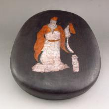 Chinese Duan Inkstone Carved Poetry w Hard Wood Inlay Conch Box
