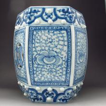Hand-painted Chinese Blue And White Porcelain Stool