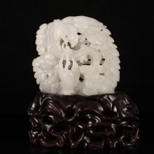 Openwork Chinese Natural Hetian Jade Statue - Crane & Pine Tree