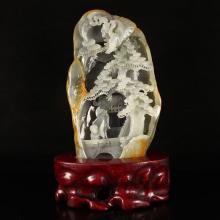 Superb Chinese Natural Hetian Jade Statue - Old Man & Kid