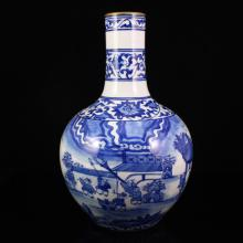 Superb Hand-painted Chinese Gilt Edges Blue And White Porcelain Vase