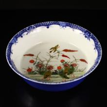 Superb Hand-painted Chinese Blue And White + Famille Rose Porcelain Bowl