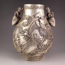 Chinese White Copper Sheep Heads Vase w Phoenix & Fire Ball