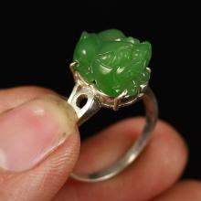 Chinese Sterling Silver Inlay Green Hetian Jade Ring w Fortune Beast