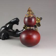 Chinese Gourd Inlay Brass Gems Snuff Bottle