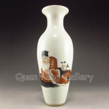 Hand-painted Chinese Mo Cai Porcelain Vase