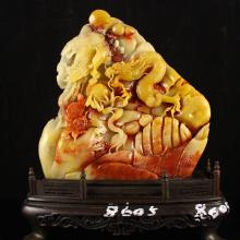 Superb Chinese Natural Shoushan Stone Statue - Dragon & Phoenix w Certificate