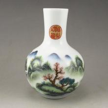 Hand Drew Chinese Su Cai Porcelain Vase w Mountain Scene & Marked