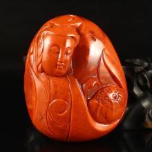 Beautiful Color Chinese Natural Nan Hong Agate Pendant - Kwan-yin Free Certificate