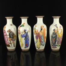 A Set Superb Hand-painted Chinese Famille Rose Porcelain Vase w Eight Taoism Deity & Qianlong Mark