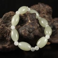 Beautiful Chinese Natural Hetian Jade Beads Bracelet
