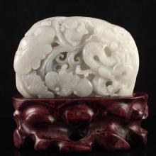 Chinese Natural Hetian Jade Statue - Fortune Dragon & Rats