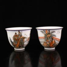 A Pair Superb Hand-painted Chinese Iron Red Glaze Porcelain Cups w Qianlong Mark