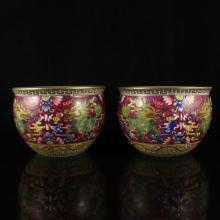 A Pair Hand-painted Chinese Enamels Porcelain Cups w Qianlong Mark
