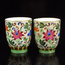 A Pair Hand-painted Chinese Gilt Edges Famille Rose Porcelain Cups W Qianlong Mark