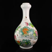 Hand-painted Chinese Famille Rose Porcelain Vase w Qian Long Mark