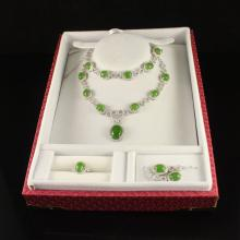 A Set Superb 925 Silver Inlay Chinese Natural Green Hetian Jade Necklace , Bracelet , Earrings , Ring