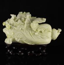 Chinese Natural Jade Carved Fortune Cabbage Statue