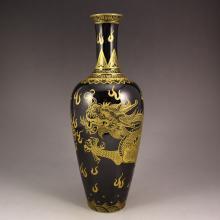 Hand-painted Chinese Mirror Black Glaze Porcelain Vase w Yong Zheng Mark