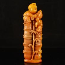 Chinese Natural Shoushan Stone Seal w Fortune Kids