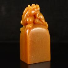 Chinese Natural Shoushan Stone Seal Carved Fortune Pi Xiu