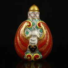 Hand-painted Chinese Gold-plating Enamels Porcelain Snuff Bottle w Qian Long Mark