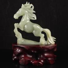 Chinese Natural Hetian Jade Statue Carved Horse
