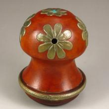 Chinese Gourd Inlay Brass Cricket Pot