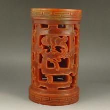 Hollow Out Carved Chinese Natural Shoushan Stone Brush Pot w Lucky Design