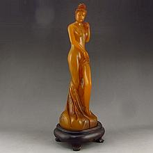 Superb Hand Carved Chinese Natural Shoushan Stone Statue - Naked Beautiful Girl