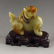 Hand Carved Chinese Natural Hetian Jade Statue - Fortune Beast