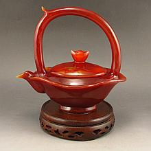 Beautiful Color Hand Carved Chinese Natural Agate Teapot Statue