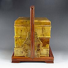Superb Hand Carved Chinese Natural Jinsinan Wood Statue - Lunch Box