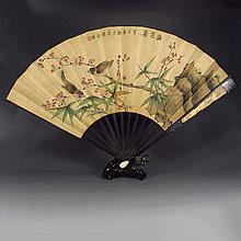 Hand-painted Chinese Xuan Paper Fan w Sanders Wood Frame , Birds & Plum Flowers