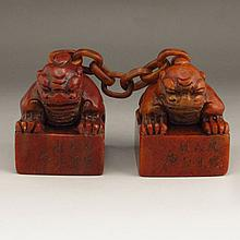 Superb Hand Carved Chinese Natural Shoushan Stone Seal