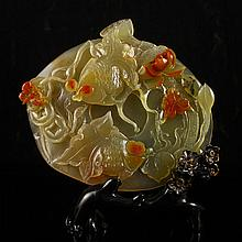 Beautiful Color Hand Carved Chinese Natural Jade Statue w Fish & Lotus