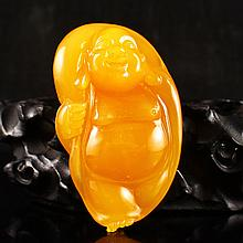 Beautiful Color Hand Carved Natural Indonesia Jin Tian Huang Pendant - Laughing Buddha