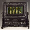 Hand Carved Chinese Natural Black Sanders Wood Inlay Green Hetian Jade Screen