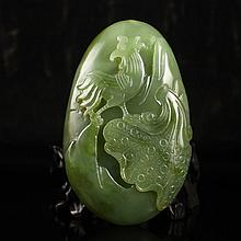 Hand Carved Chinese Natural Hetian Jade Pendant w Cock